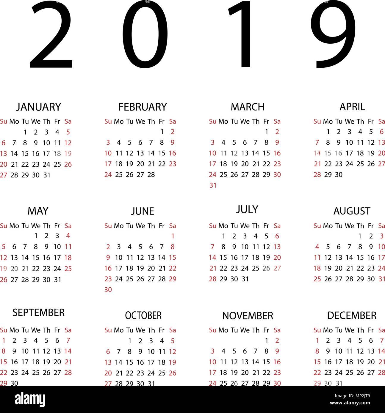 2019 Sunday Calendar Calendar 2019 year. Week starts with Sunday. Vector illustration