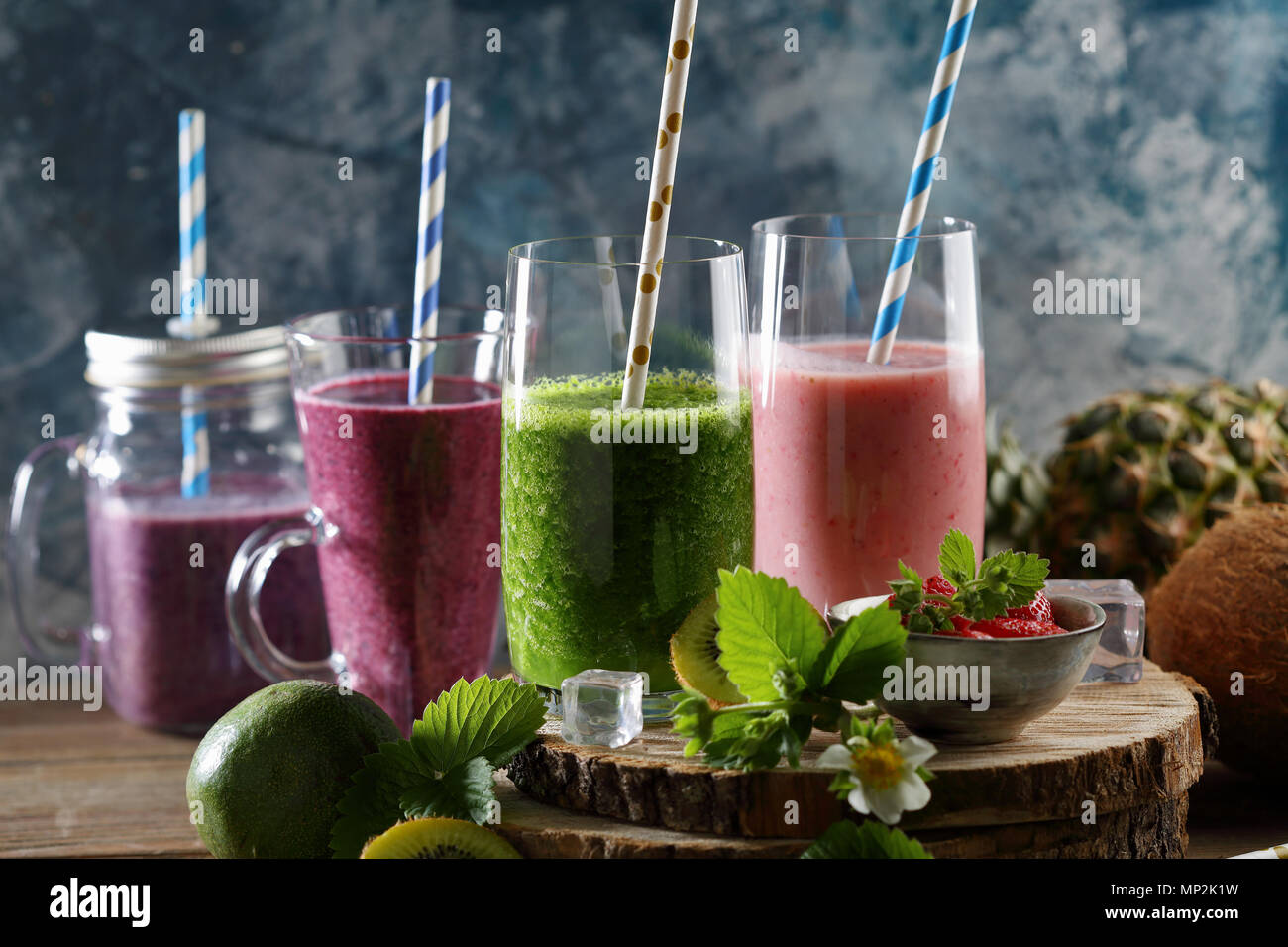 Summer drink in glasses, beverages - Stock Image
