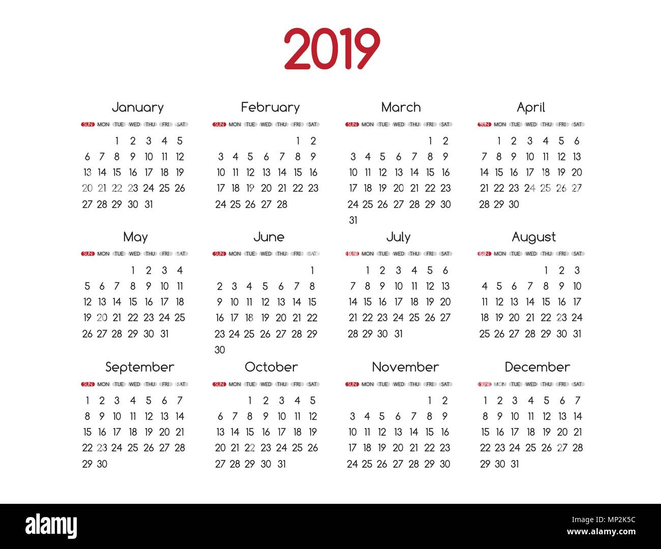 2019 new year vector calendar modern simple design with round san serif fontholiday event plannerweek starts sunday