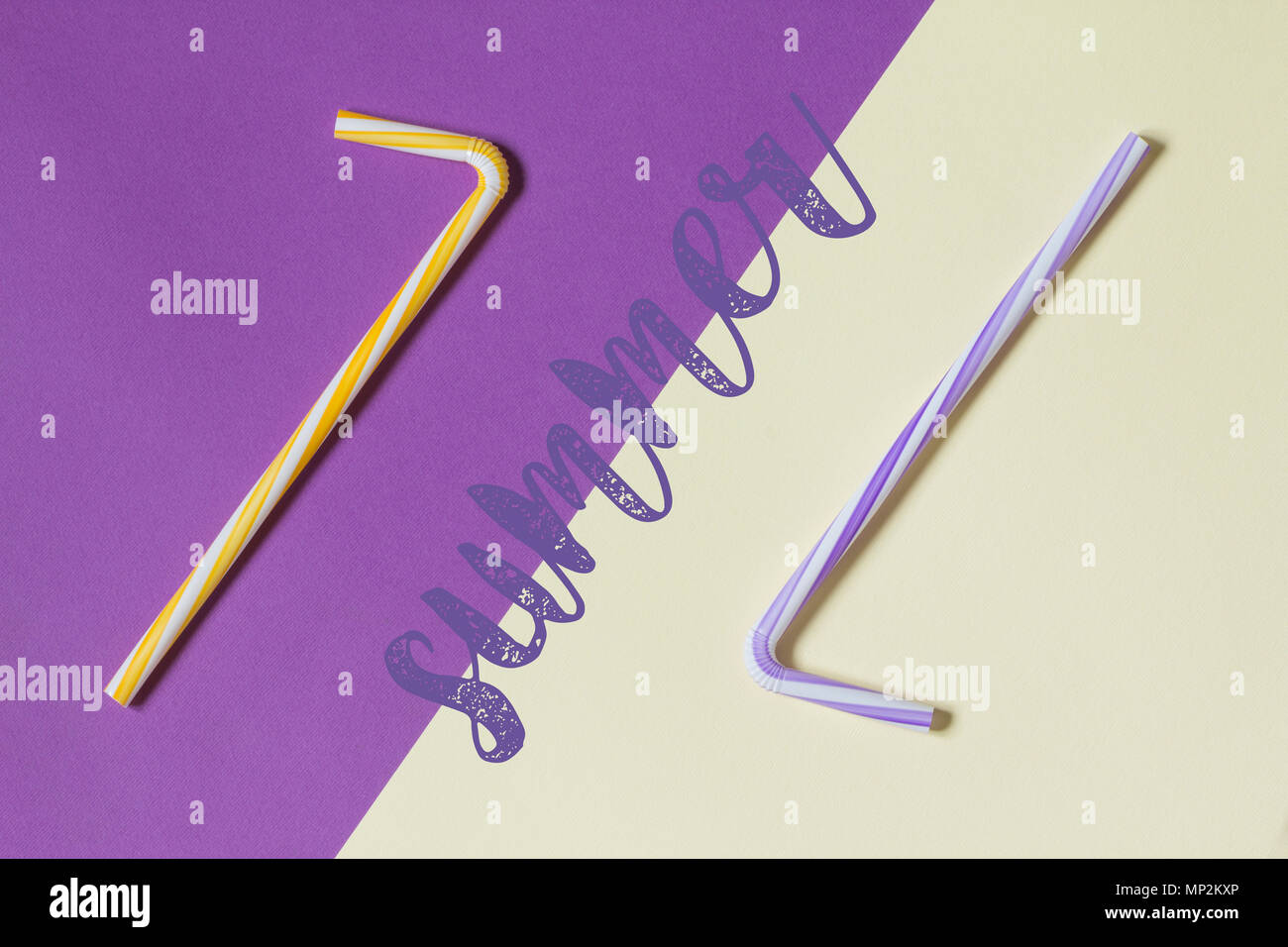 Creative view of drinking straws for party on a two-tone background - ultra violet and yellow. Top view. - Stock Image