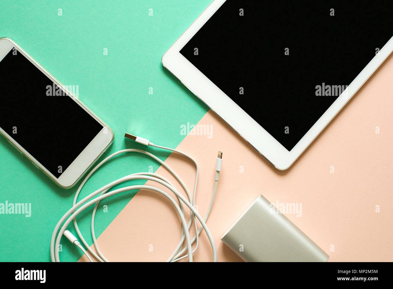 Verführerisch Smart Bank Galerie Von Phone, Tablet And Power On Paper Background.