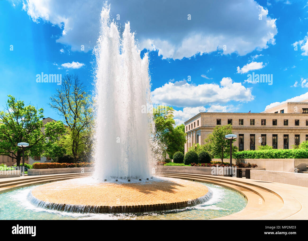 Fountain in Robert Latham Owen park in Washington D.C., USA. Robert Latham Owen was one of the first United States senators from the state Oklahoma. H Stock Photo