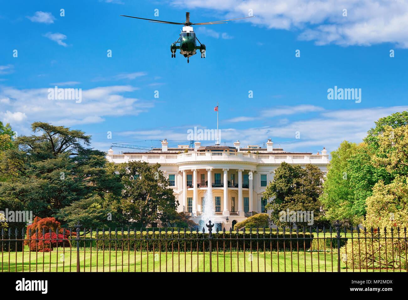Helicopter Flight Towards The White House In Washington Dc Usa