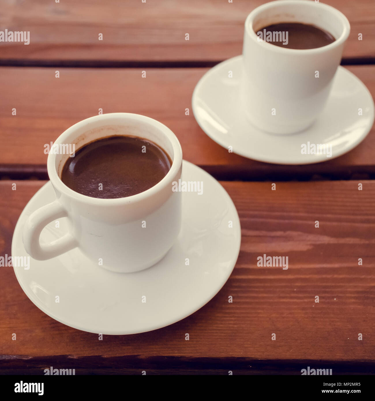 Two Cups Of Turkish Coffee On The Table White Cup Wooden Kopi Wihte Background Break