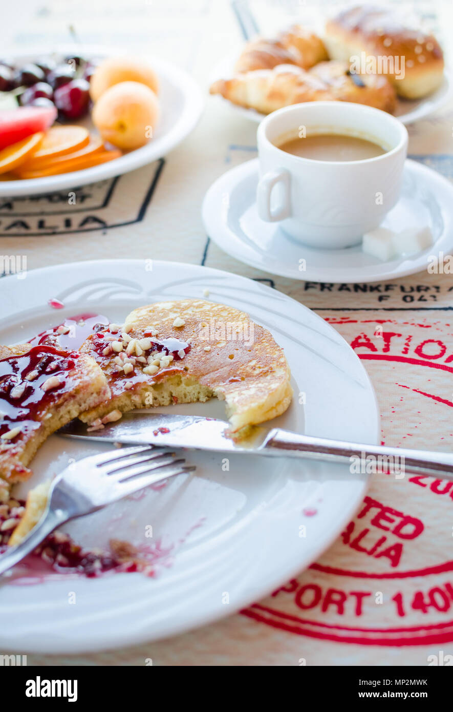 Breakfast Including Classic Pancakes With Raspberry Jam Coffee With