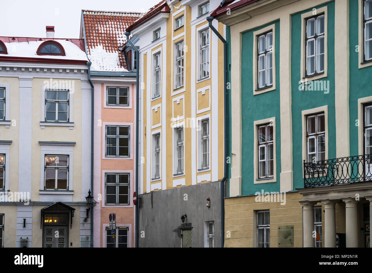 Colorul building in Tallinn old town, Estonia capital city in the Baltic area of North Eastern Europe Stock Photo