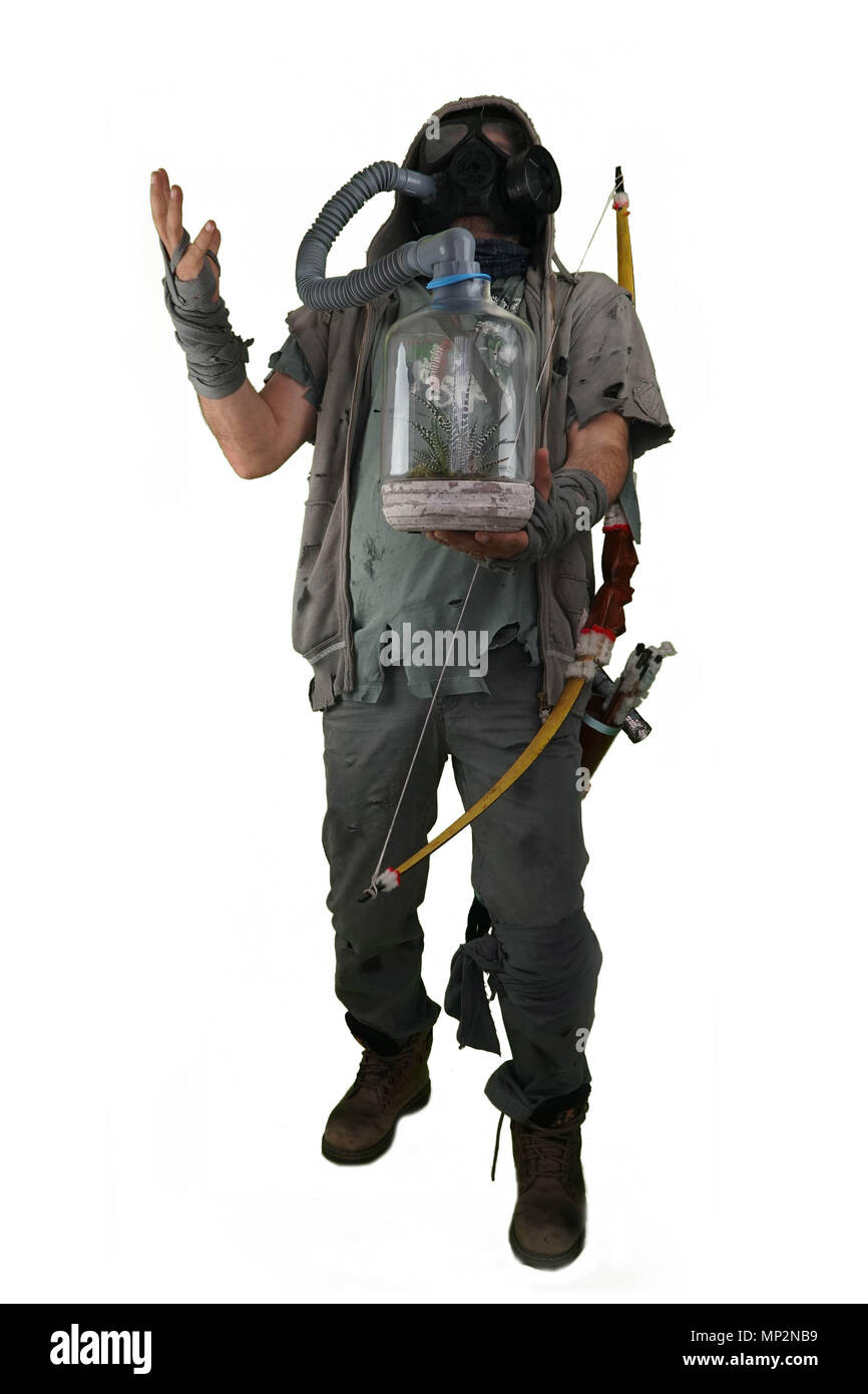 Nuclear post apocalypse survivors concept with white isolated background - Stock Image