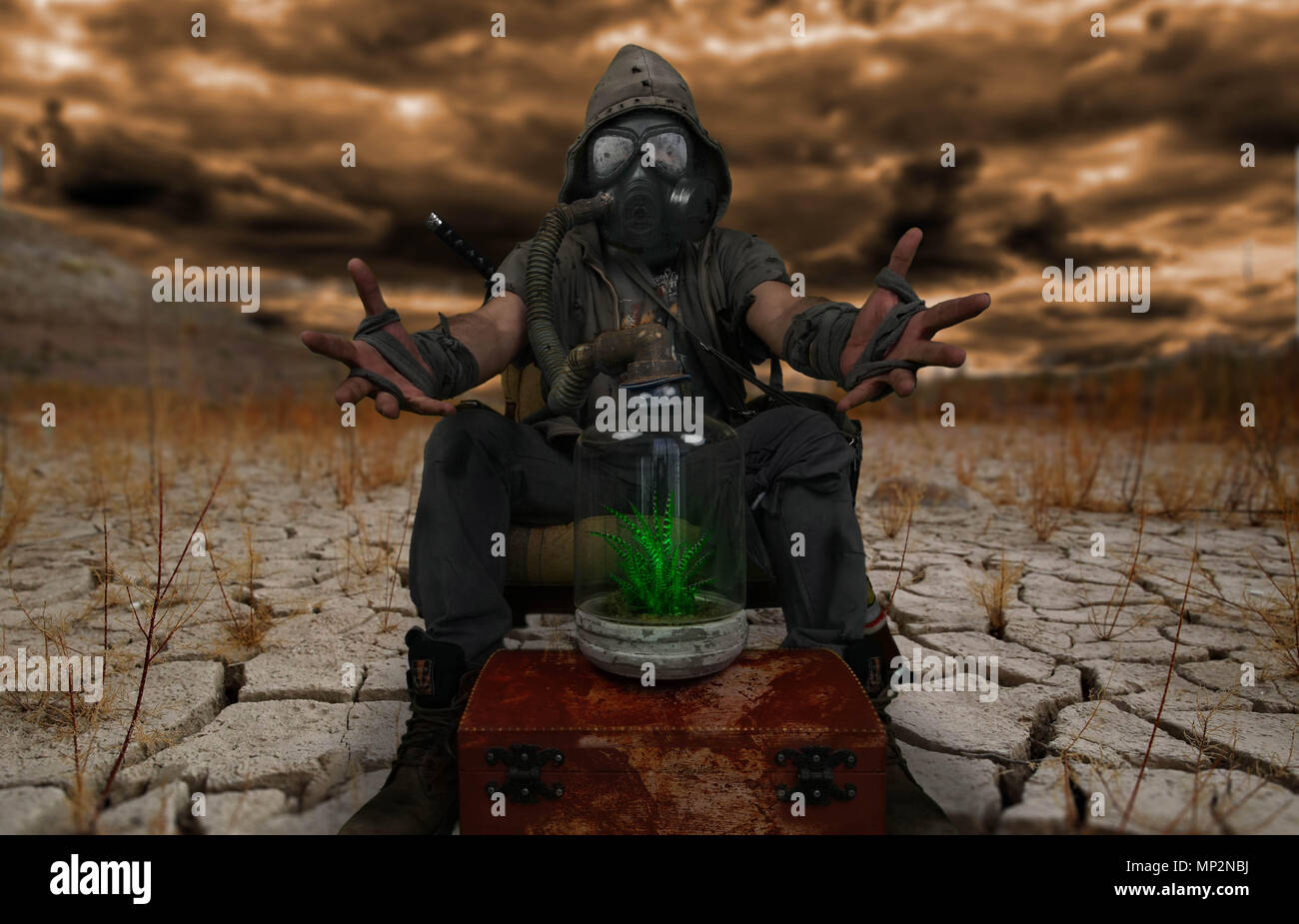 Nuclear post apocalypse survivors concept - Stock Image