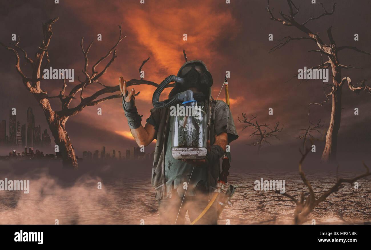 Nuclear post apocalypse survivors concept - Stock Image