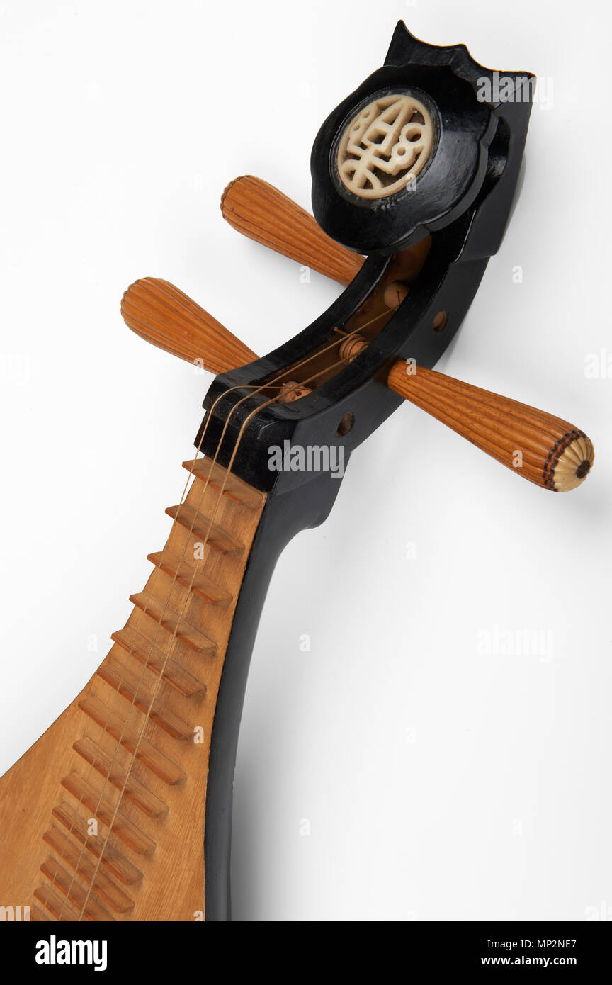 a liuqin a three stringed, Chinese lute - Stock Image