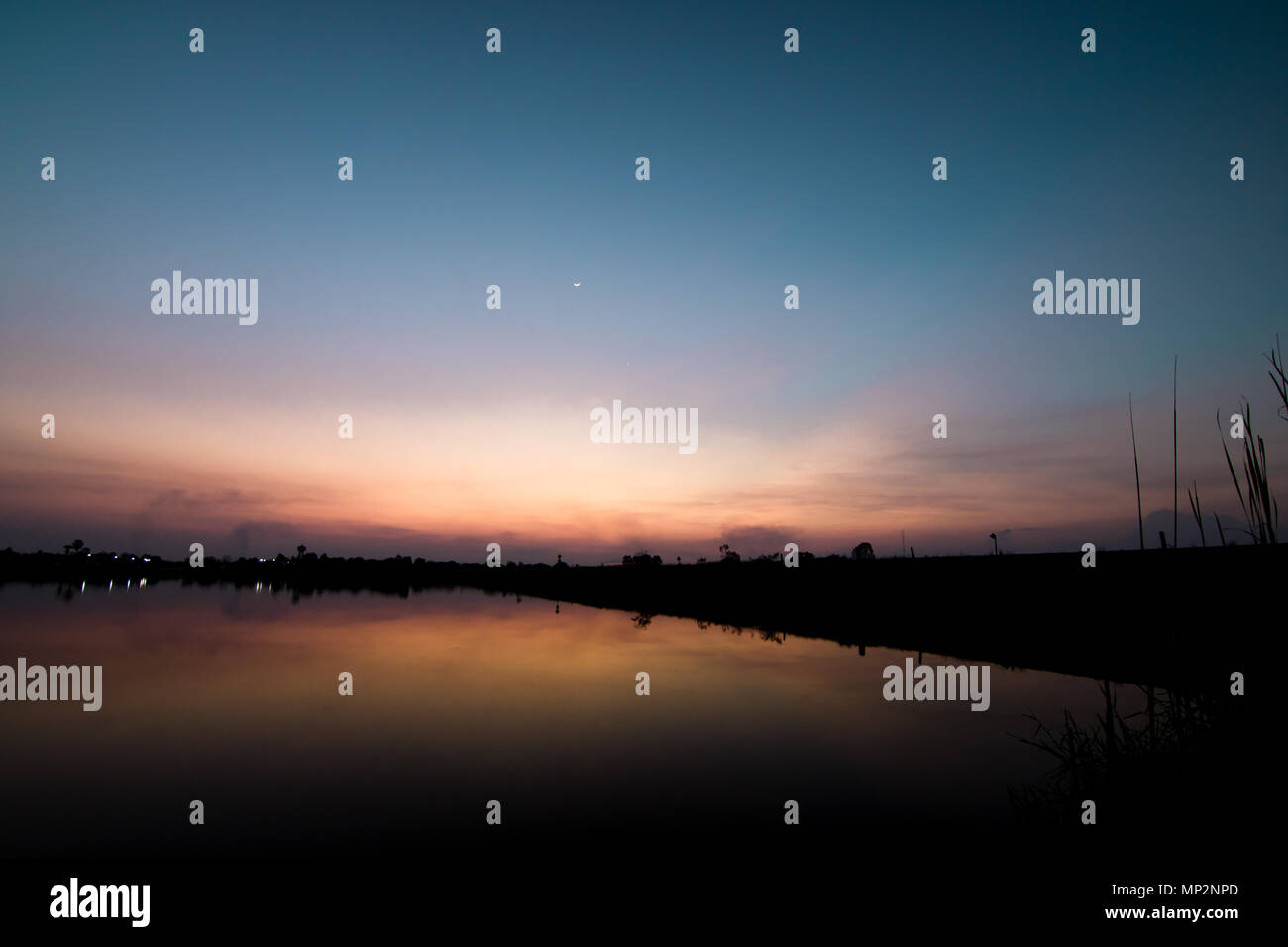 blue sky and white clound in twilight - Stock Image