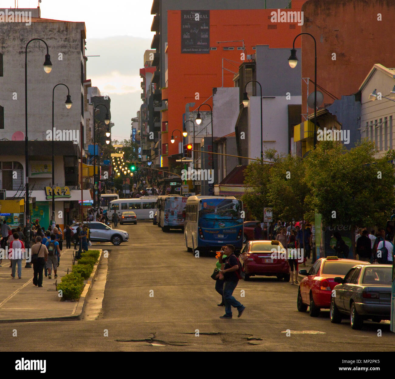 Busy street in San Jose the capital city of Costa Rica Stock Photo
