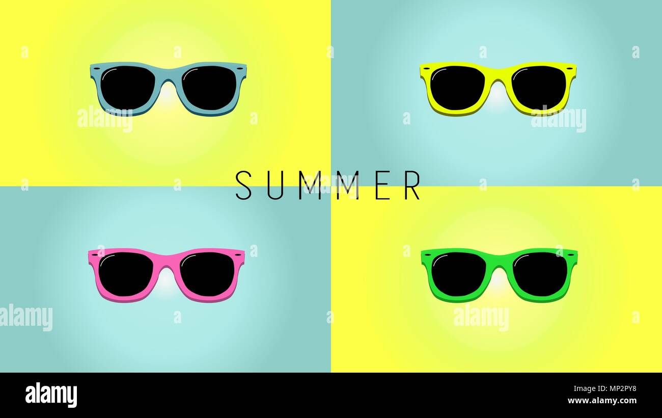 43a51e813599 Minimalistic summer background with sunglass. Flat design style. Sunglasses  silhouette. Simple icon. Modern flat icon in stylish colors.