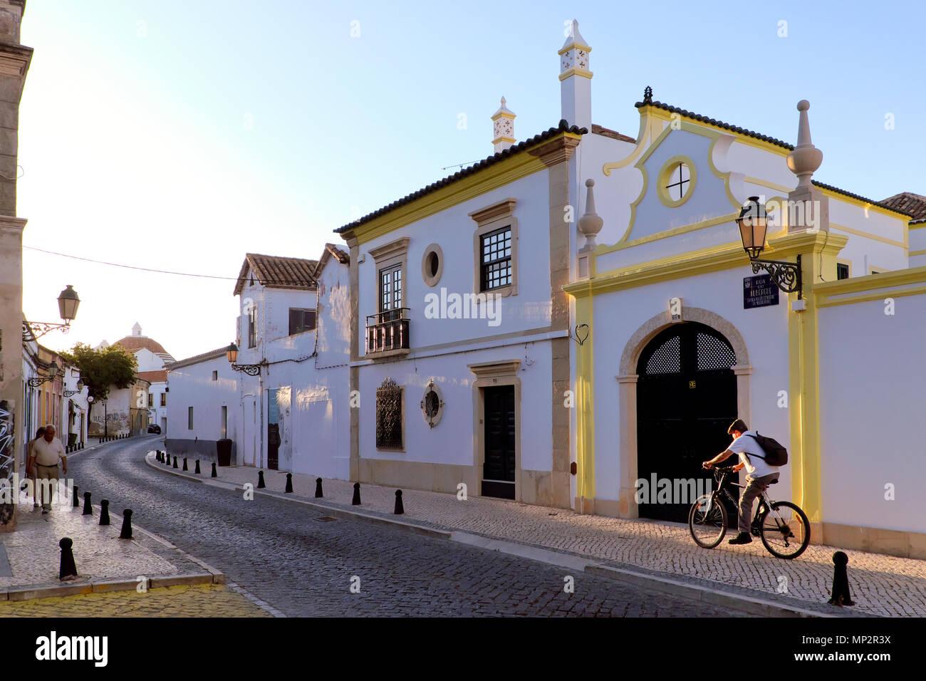 A street in the Old Town / Vila Adentro / Cidade Velha, Faro, Algarve, Portugal - Stock Image