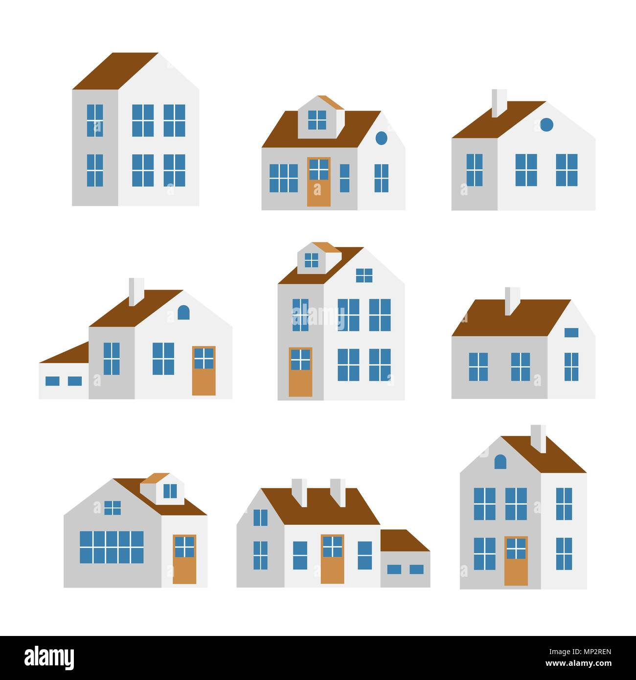 Small and big white houses isolated vector set