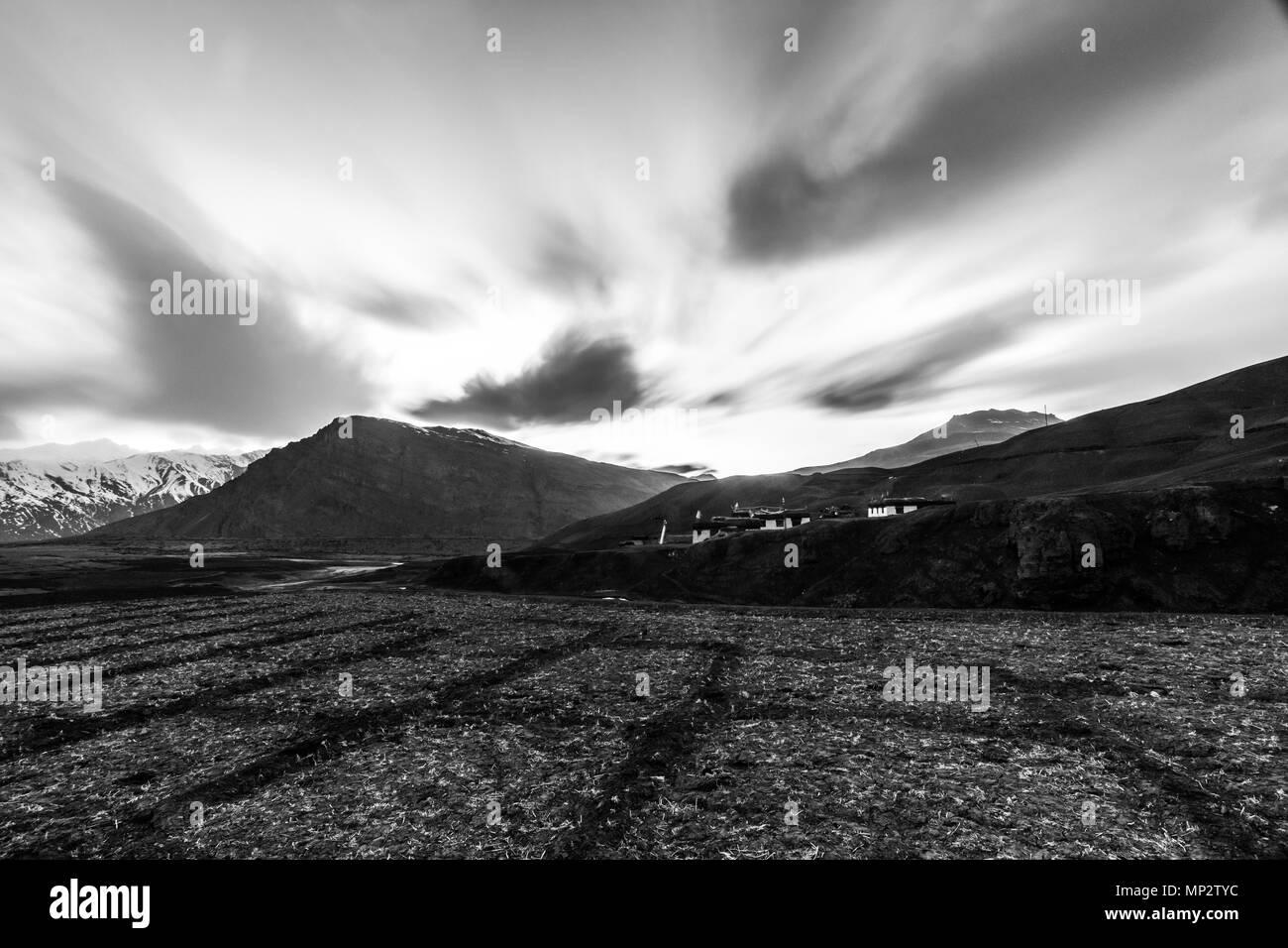 Sunset Long exposure in Langza - Spiti Stock Photo