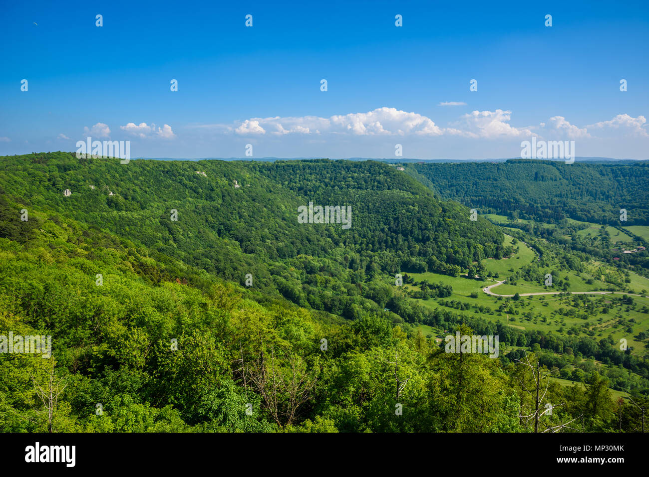 Landscape at the castle Hohenneuffen at Beuren, Swabian Alb, Germany - Stock Image