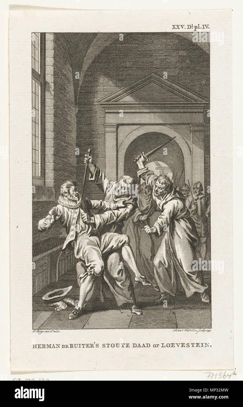 . English: Suprise of Loevstein, Netherlands Nederlands: Verrassing van Loevestein . 1791. Vinkeles, Reinier naar tekening van: Buys, Jacobus 817 Loevestein Ruyter - Stock Image