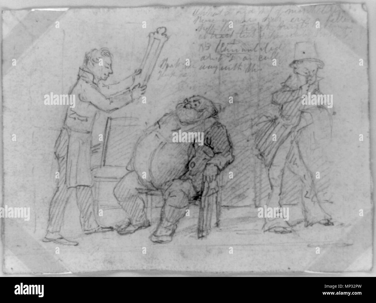 .  TITLE: [John Bull and the Yankee barber]. By D.C. Johnston. MEDIUM: 1 drawing: pencil. CREATED/PUBLISHED: [1830?] Title from handwritten notation on mat. Study for etching, plate 1, published in 'Scraps' #2, 1830. circa 1830.   735 JohnBull YankeeBarber ca1830 byDClaypooleJohnston LibraryOfCongress - Stock Image