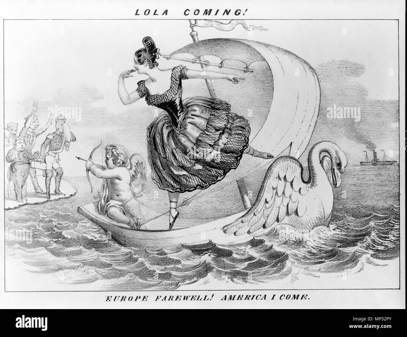 . Lola coming! Europe farewell! America I come. ca.1852? By D.C. Johnston. Cartoon of Lola Montez. circa 1852.   817 LolaComing ca1852 byDClaypooleJohnston LibraryOfCongress - Stock Image
