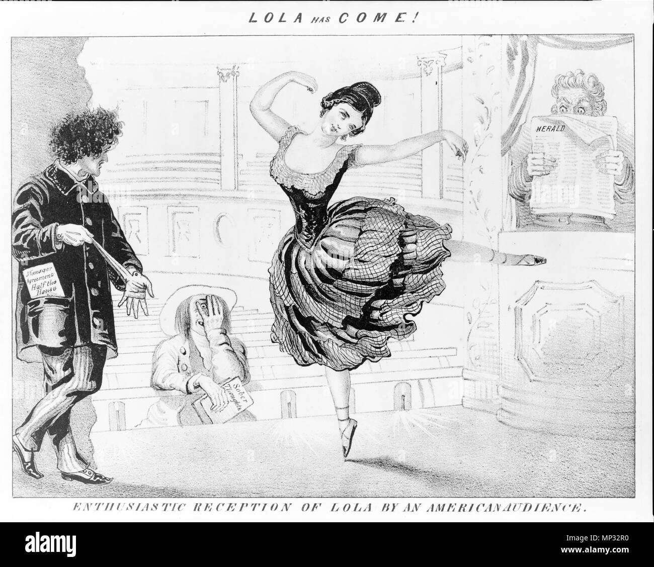 . Lola has come! Enthusiastic reception of Lola by American audience. ca.1852? By D.C. Johnston. Cartoon of Lola Montez. circa 1852.   817 LolaHasCome ca1852 byDClaypooleJohnston LibraryOfCongress - Stock Image