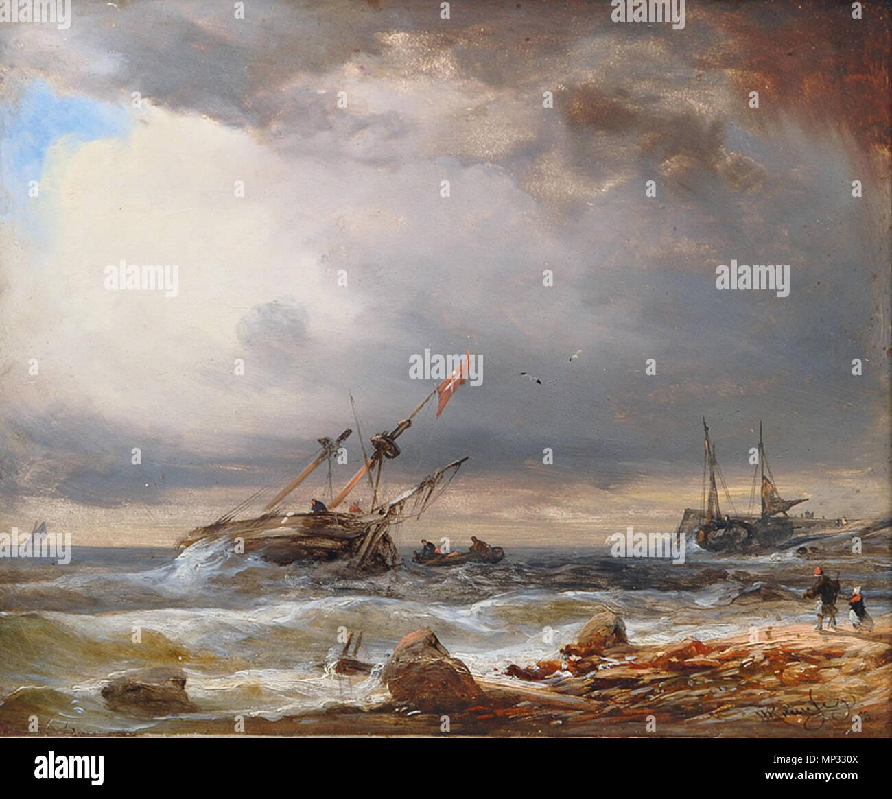 1259 Wilhelm Krause - Dänischer Zweimaster vor kleinem Hafen - Stock Image