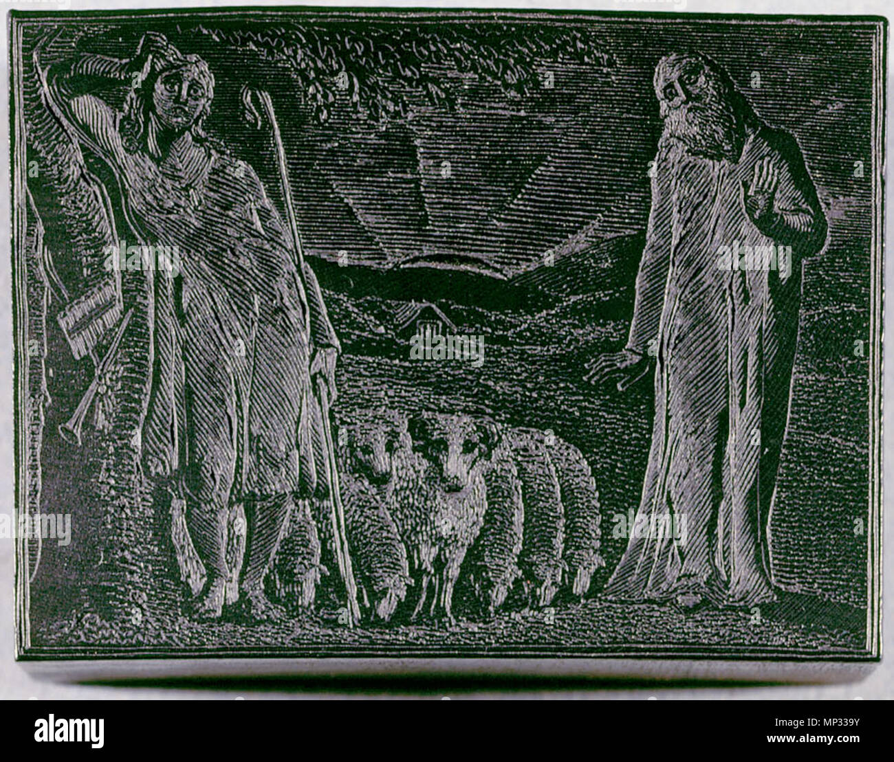 . English: The Pastorals of Virgil, related materials, object 5 woodblock bb504 bm-woodengraving 5 300 . 1 March 2010, 08:59:54.   William Blake (1757–1827)   Alternative names W. Blake; Uil'iam Bleik  Description British painter, poet, writer, theologian, collector and engraver  Date of birth/death 28 November 1757 12 August 1827  Location of birth/death Broadwick Street Charing Cross  Work location London  Authority control  : Q41513 VIAF:54144439 ISNI:0000 0001 2096 135X ULAN:500012489 LCCN:n78095331 NLA:35019221 WorldCat     This is a faithful photographic reproduction of a two-d - Stock Image