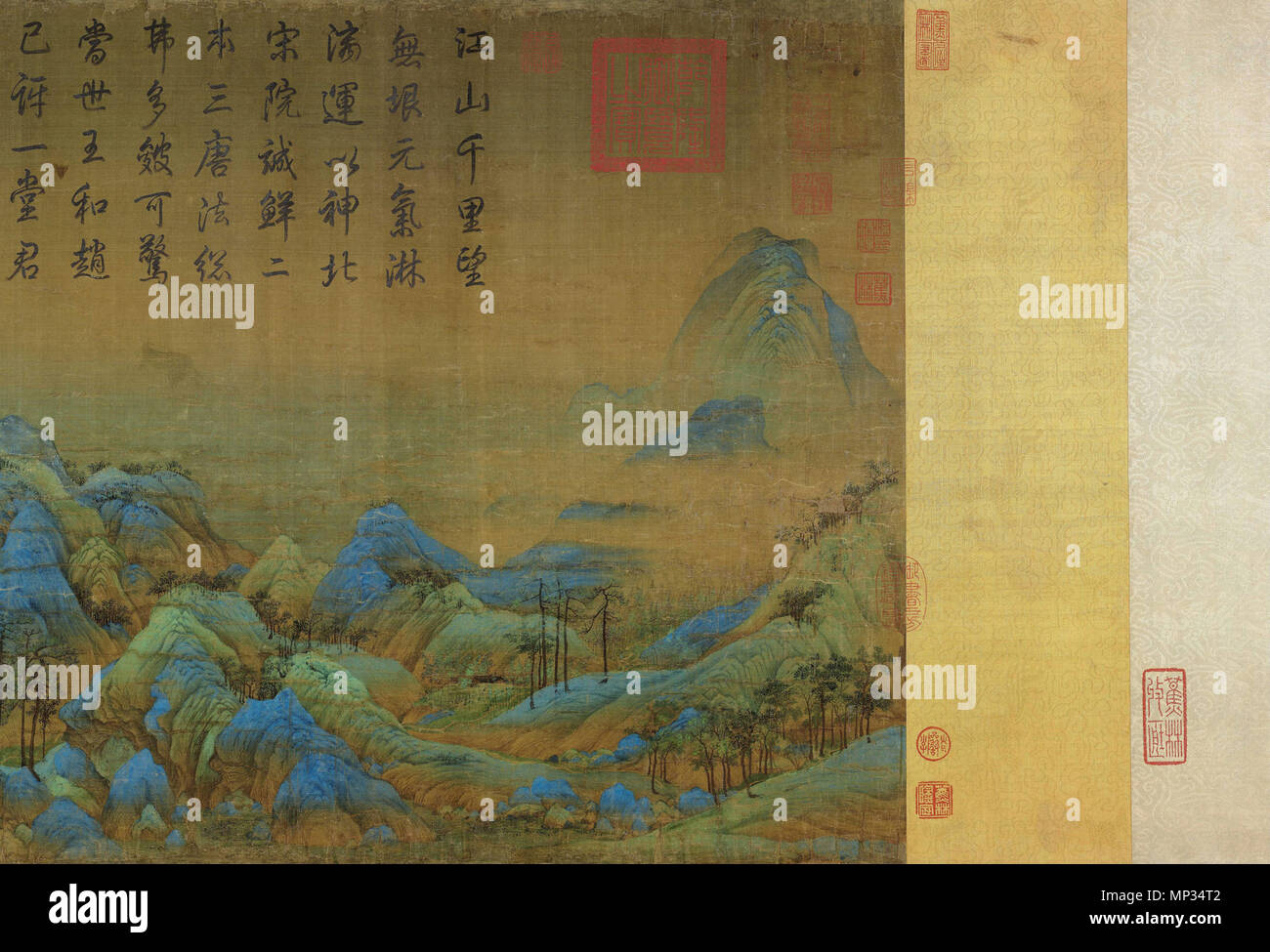 . English: Start detail from 'A Thousand Li or River and Mountains' (千里江山) hand scroll in ink and color on silk. 11.91 meters x 55.8 cm. Located in Palace Museum, Beijing. between 1096 and 1119. Wang Ximeng (王希孟) 1250 Wang Ximeng - A Thousand Li of River (Start) - Stock Image