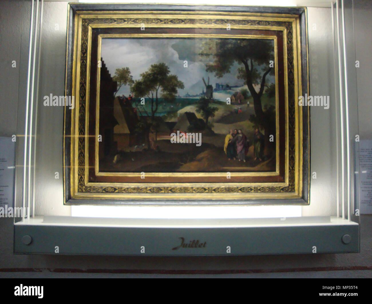 July .  Français: un des 12 peintures de Grimmer (1592, école flamande) representant les 12 mois: le mois de juillet. . 1592.   903 Montfaucon (Haute-Loire, Fr) Grimmer 12 mois tableau juillet - Stock Image