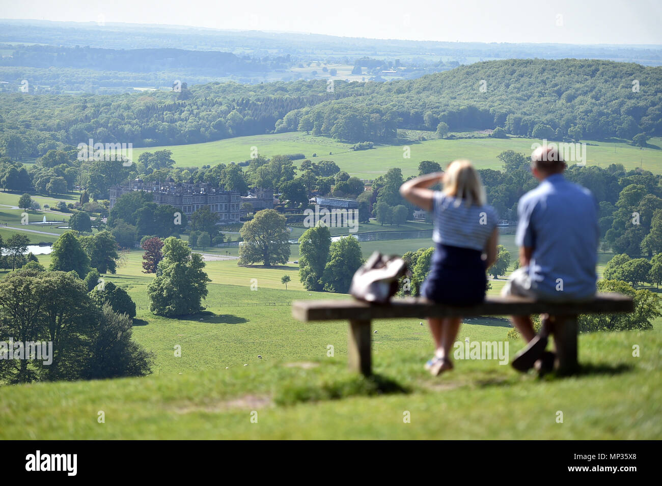 Longleat House and Gardens seen from the hill at heavens gate in Warminster - Stock Image