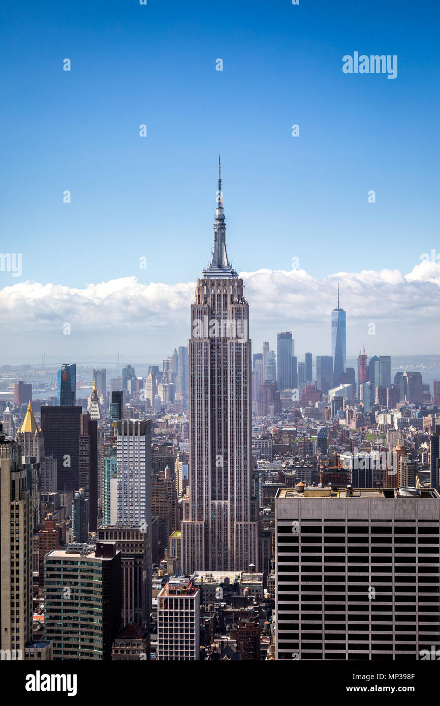 The Empire State building as seen from the Rockefeller Plaza observation deck in New York City, USA. - Stock Image