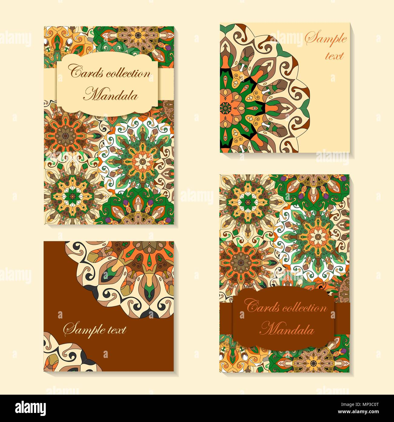 Greeting Card Design With Mandala Pattern Abstract Vector Template