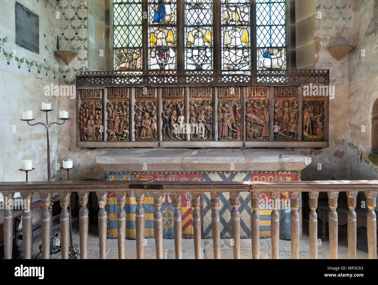 Alabaster reredos in the Chapel at Haddon Hall, near Bakewell, Derbyshire, England, UK - Stock Image