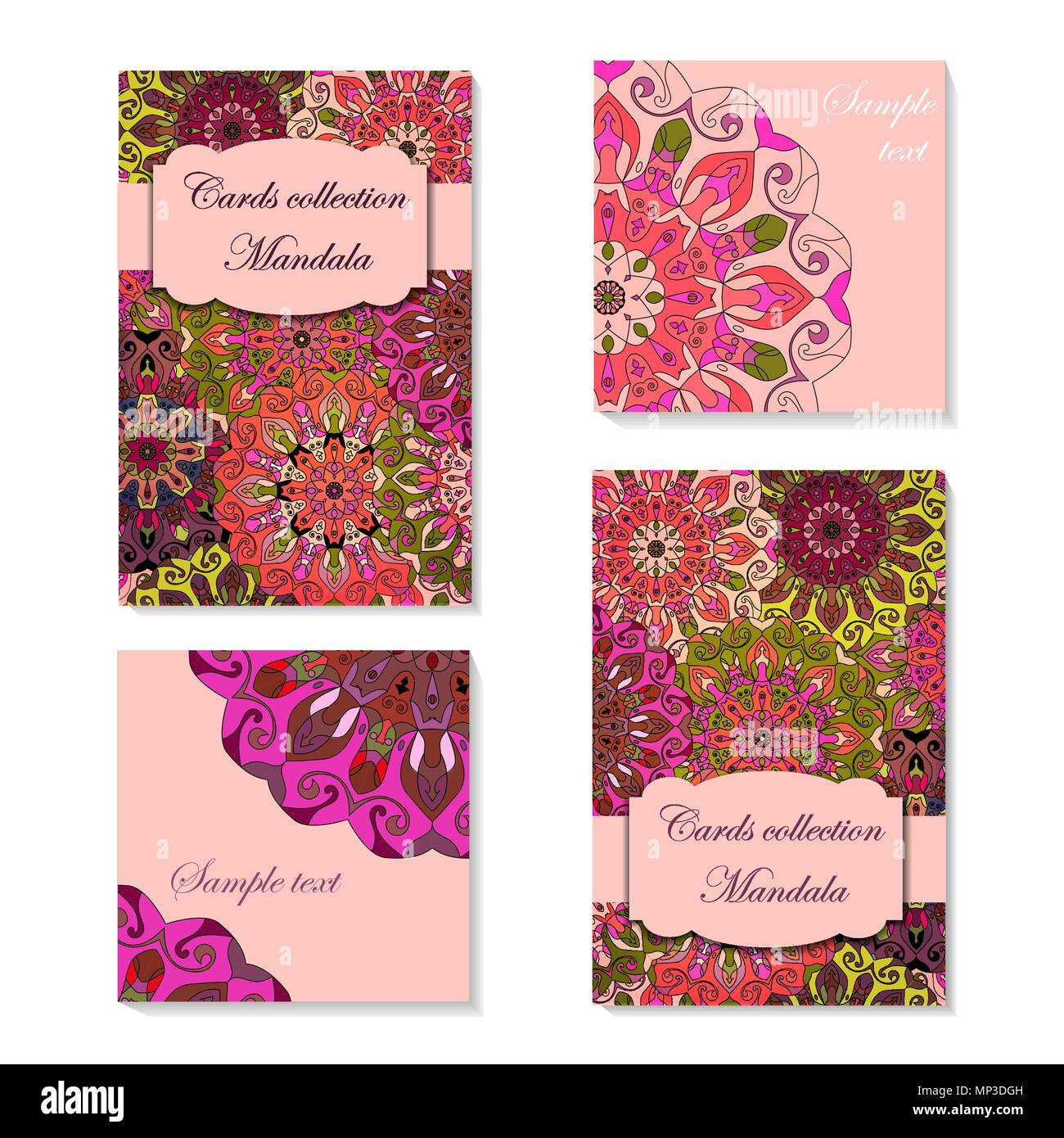 Card design with mandala pattern. Abstract vector template. Indian ...