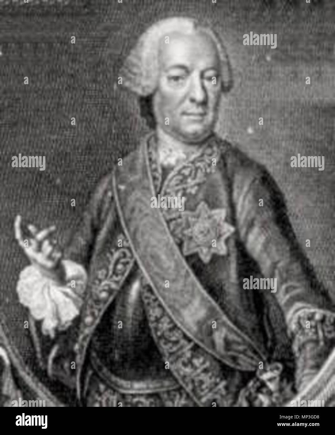 """. Philipp Andreas Graf von Ellrodt (vormals Freiherr von Ellrodt, auch """"Graf Ellrodt von Reipolzkirchen"""", auf (Neu-)Drossenfeld, Reipoltskirchen, Lausnitz, Neunhofen; Premierminister des Markgrafentums Bayreuth (* 4. August 1707, + 1. Januar 1767) . second half of 18th century.   981 Philipp Andreas Graf von Ellrodt (1707-1767) - Stock Image"""