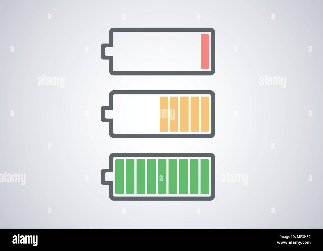 vector design of battery conditions icon pack - Stock Vector