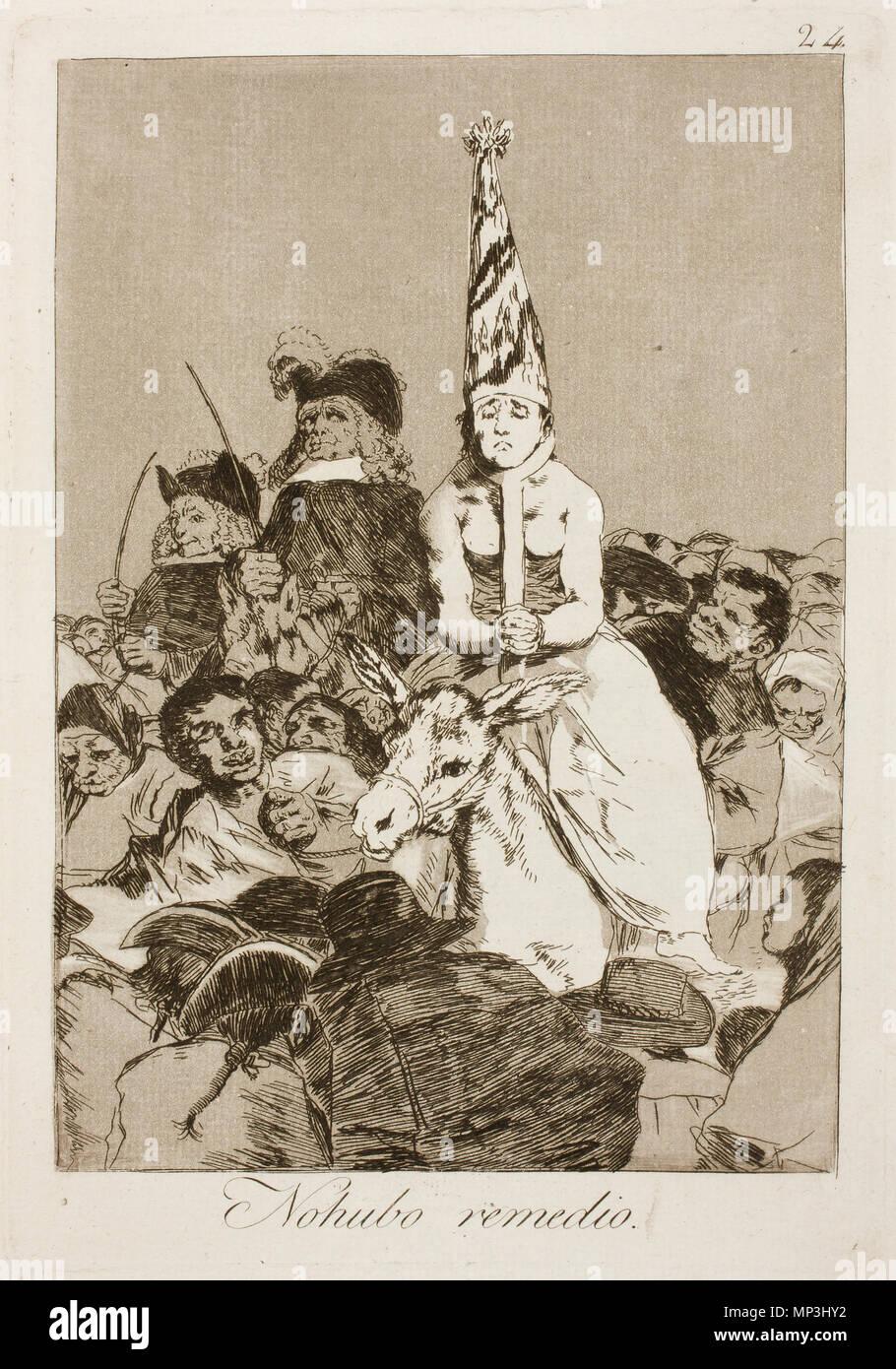 No hubo remedio (There was no help) . This print is work No. 24 of the 'Caprichos' series (1st edition, Madrid, 1799). 1797-1799.   913 Museo del Prado - Goya - Caprichos - No. 24 - No hubo remedio - Stock Image