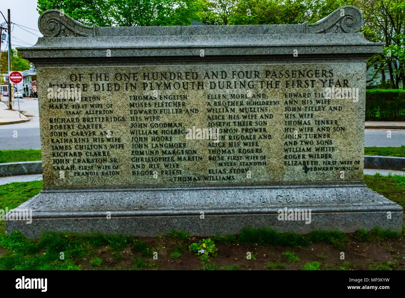 The first final resting place of the pilgrims that parished in the first year of the Plymouth Colony's existence. - Stock Image