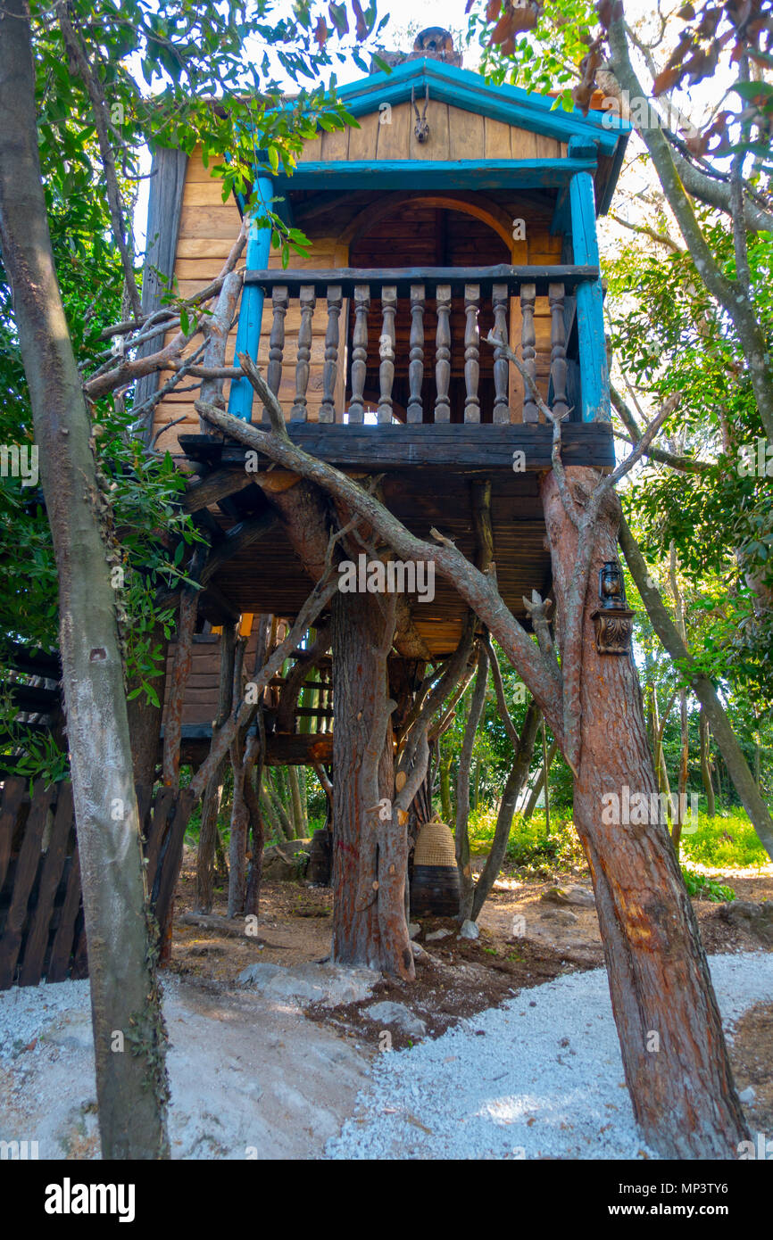 Fantasy Tree House For Children Playing Outdoors In The