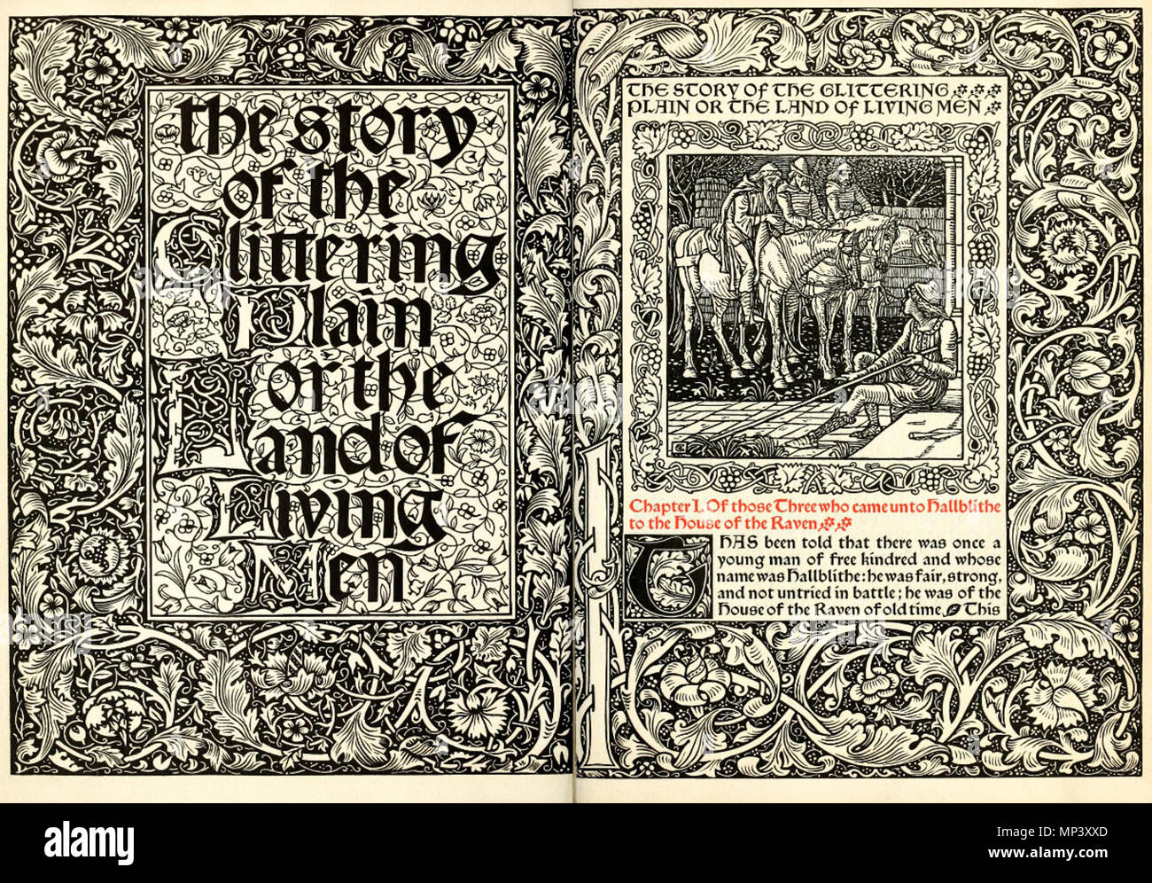 . English: Title-page of 'The story of the Glittering Plain' printed by Kelmscott Press in 1894 Русский: Титульный лист «Истории о сверкающей долине», напечатанной в «Келмскотт-пресс» в 1894 году . 1894.   William Morris  (1834–1896)       Alternative names William M. Morris  Description British painter, designer, architect and writer  Date of birth/death 24 March 1834 3 October 1896  Location of birth/death Walthamstow (Essex) London-Hammersmith  Work location Deutsch: Südengland English: Southern England  Authority control  : Q182589 VIAF: 22146194 ISNI: 0000 0001 2123 5747 ULAN: 500030629 L Stock Photo