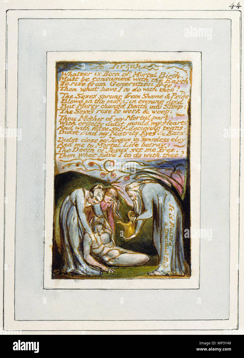 . English: Songs of Innocence and of Experience, copy V, 1821 (Morgan Library and Museum) object 44-52 To Tirzah . 4 April 2005, 06:09:05.   William Blake (1757–1827)   Alternative names W. Blake; Uil'iam Bleik  Description British painter, poet, writer, theologian, collector and engraver  Date of birth/death 28 November 1757 12 August 1827  Location of birth/death Broadwick Street Charing Cross  Work location London  Authority control  : Q41513 VIAF:54144439 ISNI:0000 0001 2096 135X ULAN:500012489 LCCN:n78095331 NLA:35019221 WorldCat    Category:William Blake   This is a faithful ph - Stock Image