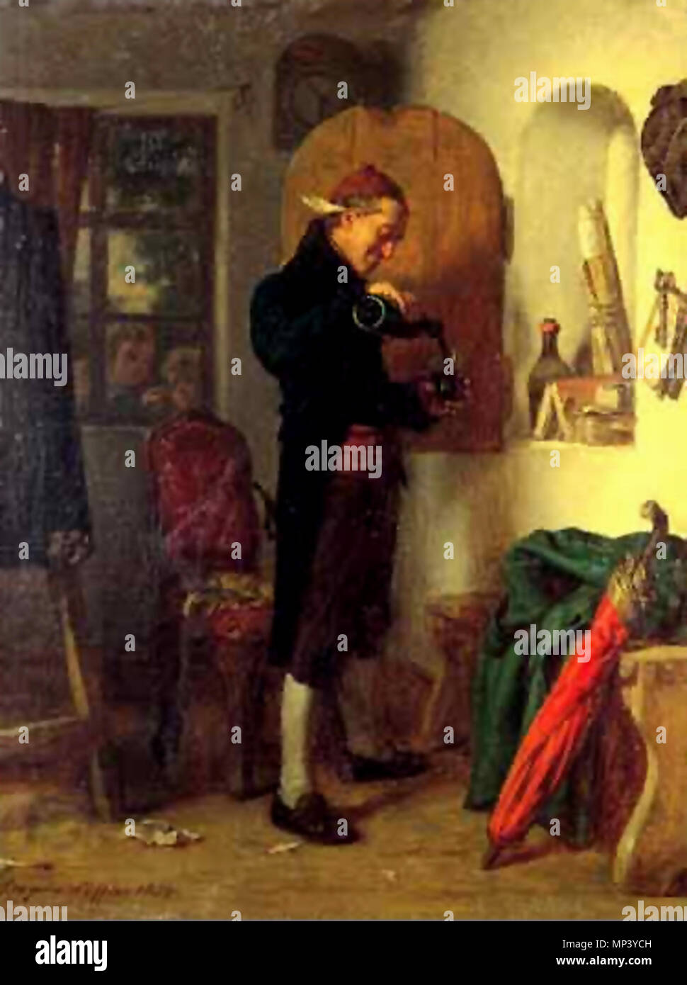 Deutsch: Leopold Löffler. English: Artist in his studio (feather-pen behind his ear) pouring himself A glass of wine for refreshment by Leopold Loeffler, oil on canvas, 33.5 x 25.5 cm Polski: Artysta w swoim studio. Kieliszek wina obraz Leopolda Loefflera (Löfflera), olej, 33.5 x 25.5 cm   circa 1870.   805 Leopold Loeffer - Artist at work 1 - Stock Image