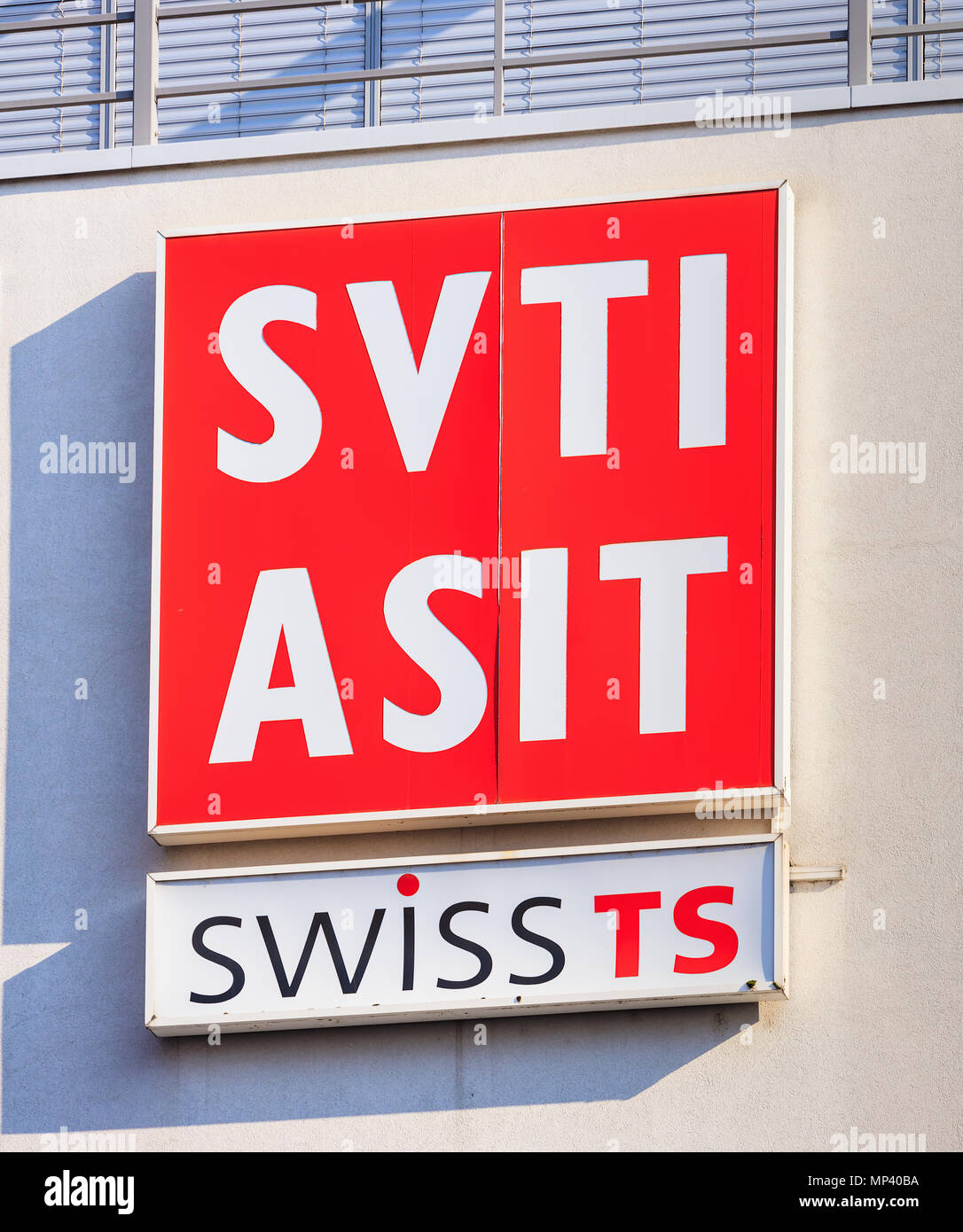 Sign Of The SVTI On Wall A Building Is Abbreviation For Swiss Association Technical Inspections In German