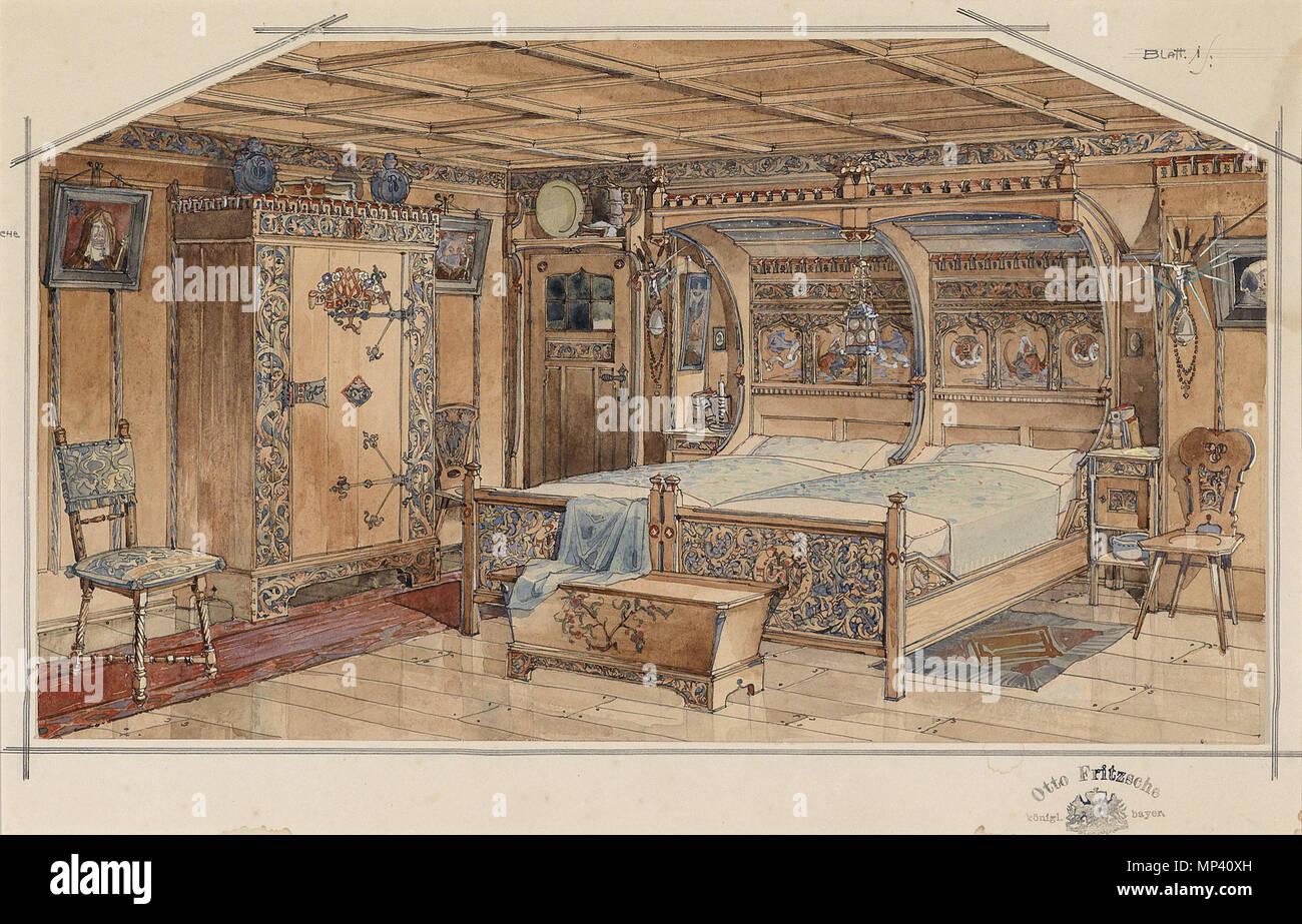 Interieur einer Bauernstube, Aquarell und schwarze Feder auf Papier ...