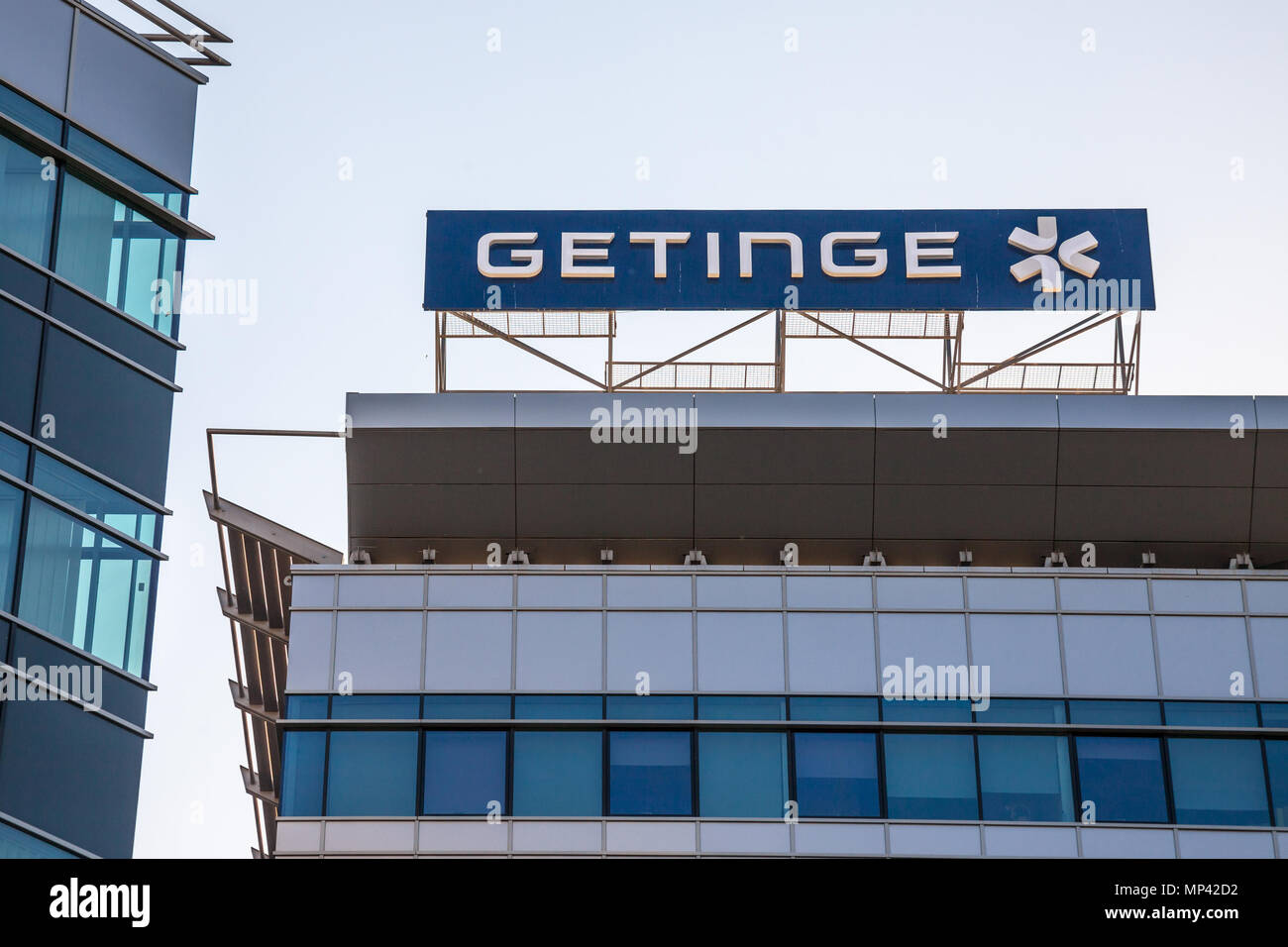 BELGRADE, SERBIA - APRIL 29, 2018: Getinge logo on their main office in Serbia. Getinge AB is a Swedish medical technology company, specialized in  eq - Stock Image