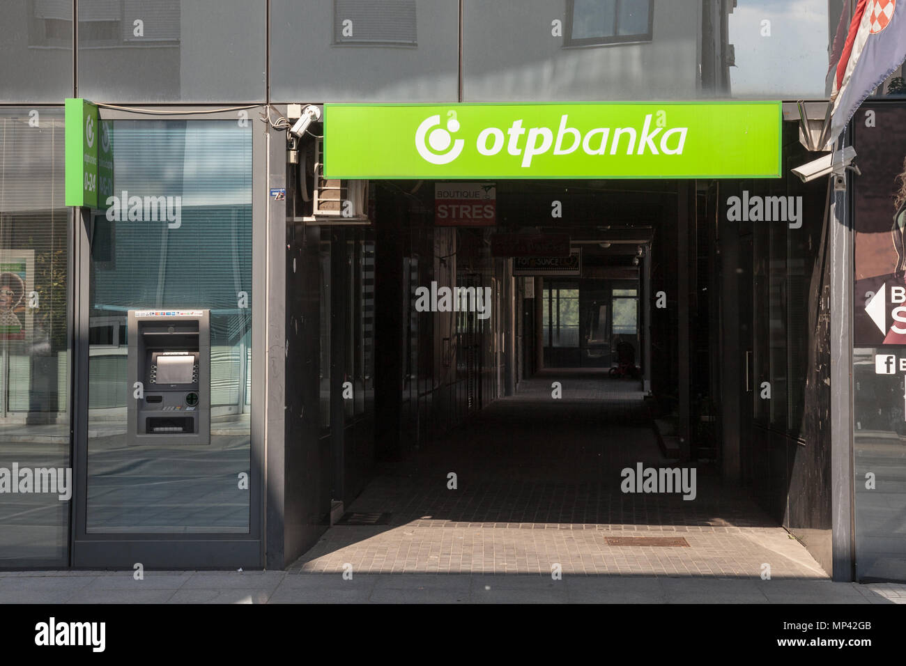 VUKOVAR, CROATIA - MAY 12, 2018: OTP Bank (OTP Banka) logo on their main office for Vukovar. OTP Bank Group is one of the largest Hungarian banks, spr Stock Photo