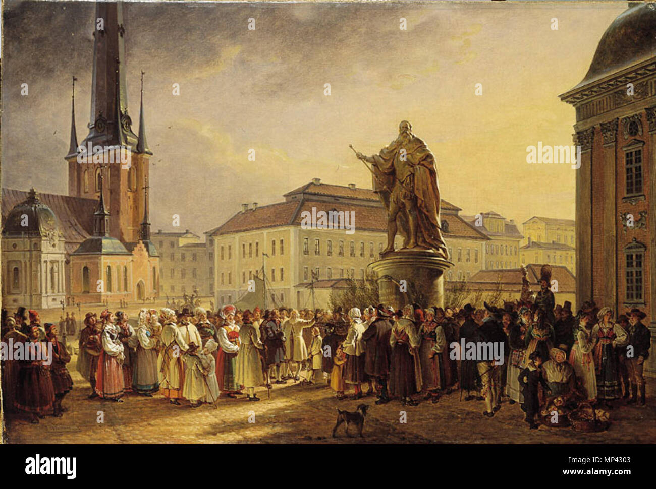 Swedish: Svensk allmoge kring Gustav I:s stod  1829.   722 Johan Gustaf Sandberg-Svensk allmoge kring - Stock Image