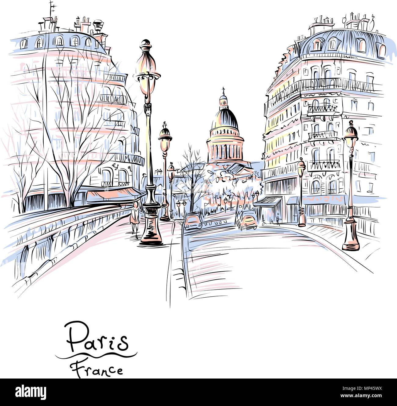 Paris in the winter morning, France - Stock Vector