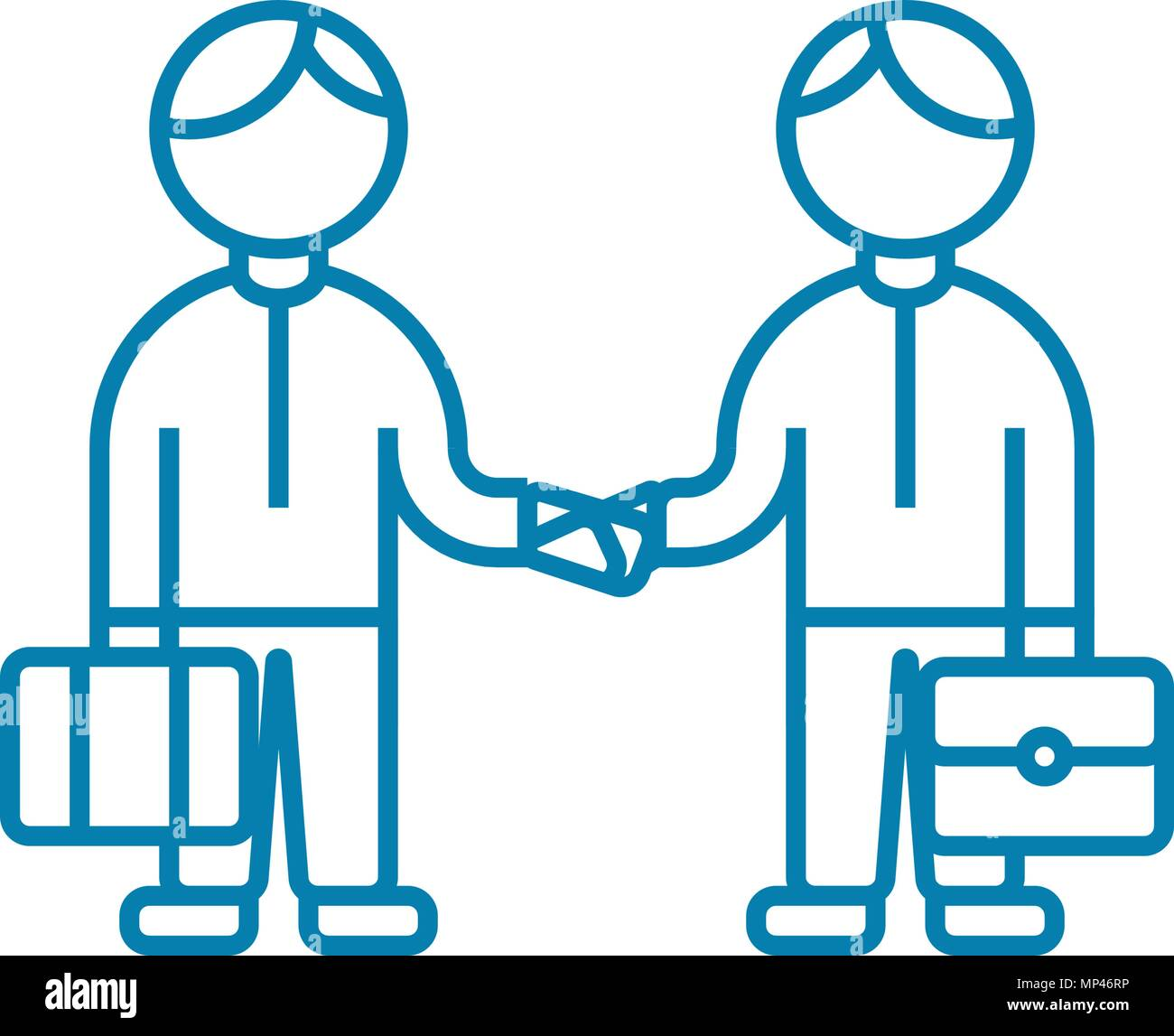 Mutual Agreement Linear Icon Concept Mutual Agreement Line Vector