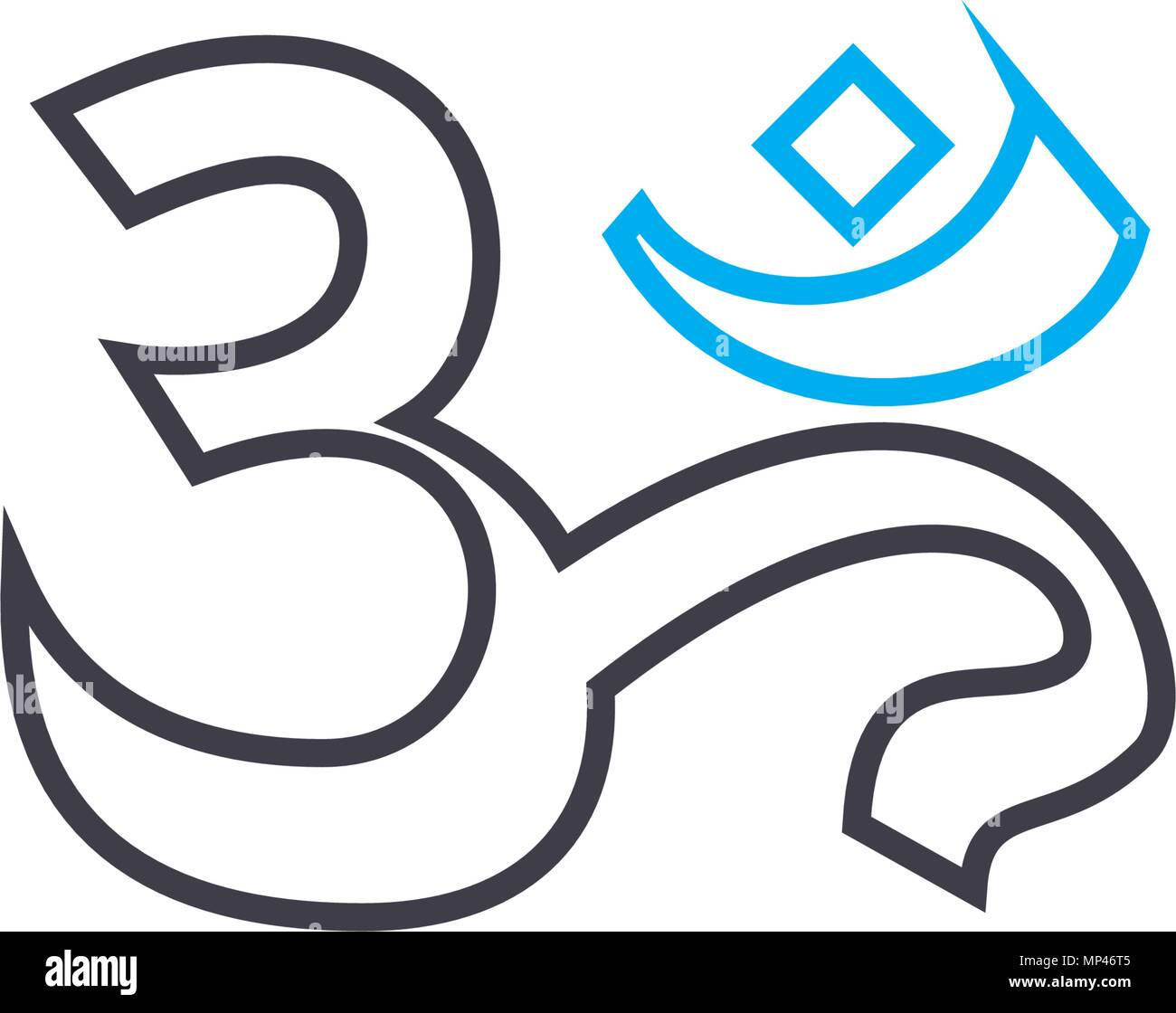 National writing linear icon concept. National writing line vector sign, symbol, illustration. - Stock Image
